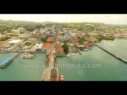 Fly over Antigua: Caribbean harbour and bay in the West Indies