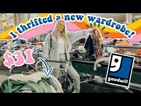 I thrifted a new wardrobe for $31! THRIFT WITH ME at the Goodwill Outlet! HUGE HAUL