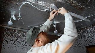 видео Точечные светильники для гипсокартонных потолков — установка потолочных ламп