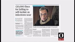 Coronavirus (Covid-19) & newspapers (see description) (UK/Global) - BBC News - 20 September 2020