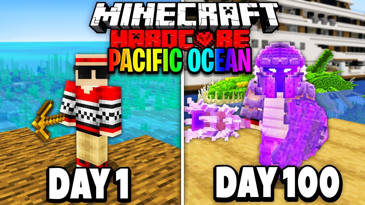 I Survived 100 Days of Hardcore Minecraft in the Pacific Ocean.. Here's What Happened..