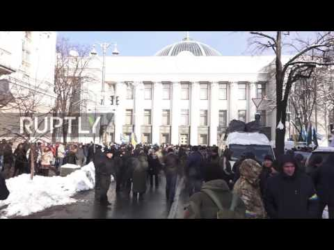Ukraine: Protesters rally outside National Bank after losing deposits to bankrupt banks
