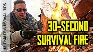 30-SECOND SURVIVAL FIRE - Make Fire in BAD WEATHER