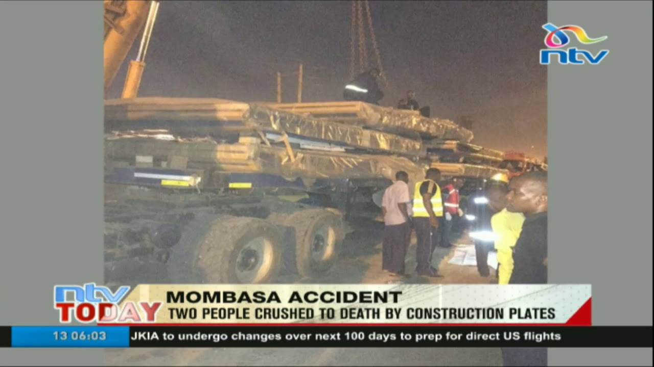 Two people crashed by construction plates in Mombasa
