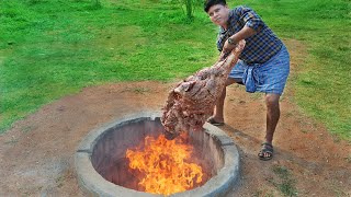 6 HOURS OF ROASTING A HUGE THIGH OF BEEF TANDOOR | YUMMY BEEF ROASTING