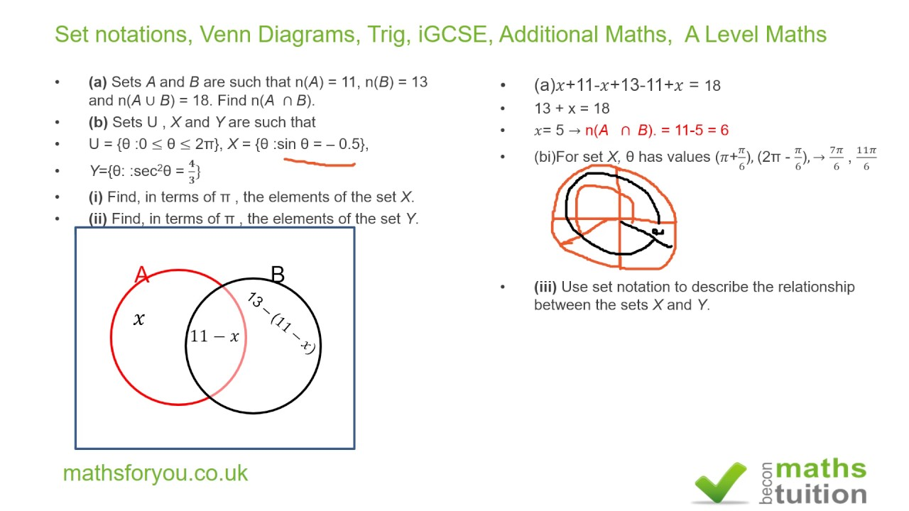 maths sets and venn diagrams how to solve circuit set notations trig igcse additional a level