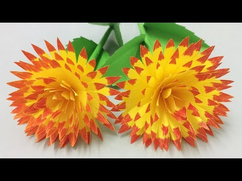 How to Make Beautiful Paper Flower - Flowers Making of Colored Paper - Paper Flower Tutorial