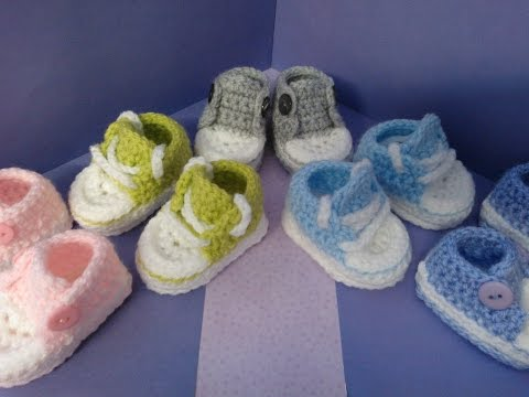 How To Crochet My Easy Petite Baby Converse Style Slippers Part 1