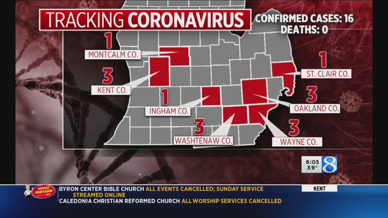 Michigan COVID-19 cases now 16; large gatherings banned - YouTube
