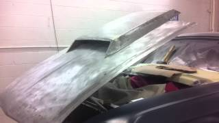 67 Mustang (hood test fit, opening)
