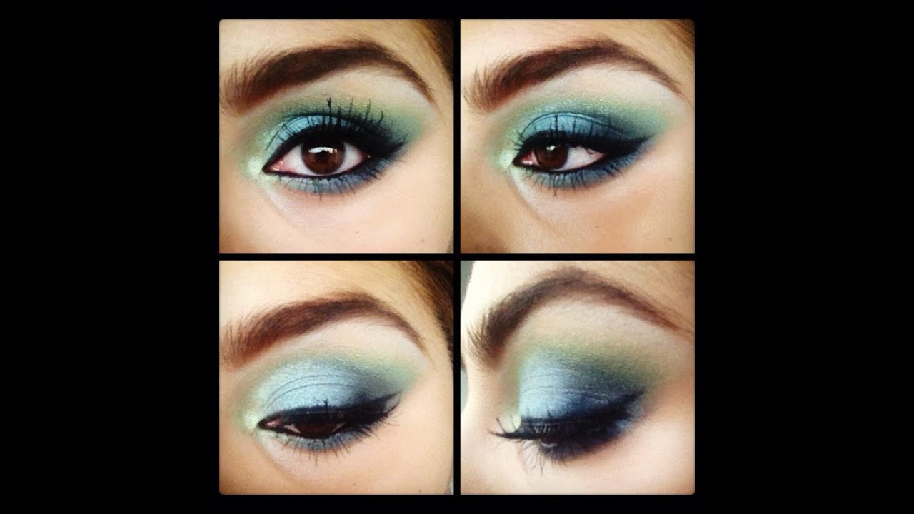 Maquillaje de noche para un vestido verde agua