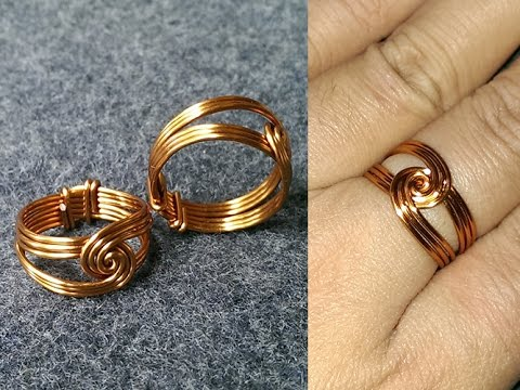 How to make wire  twisted round ring - handmade copper jewelry 132