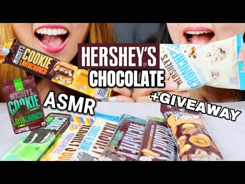 ASMR EATING HERSHEY'S CHOCOLATES (CRUNCHY EATING SOUNDS) + GIVEAWAY