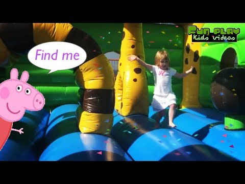 Fun Outdoor Playground for kids   Entertainment for Children Play Center with peppa pig surprise