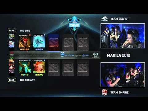 Dota 2 - Team Secret vs. Team Empire - Game 3 - ESL One Manila 2016 - Group B Decider Match