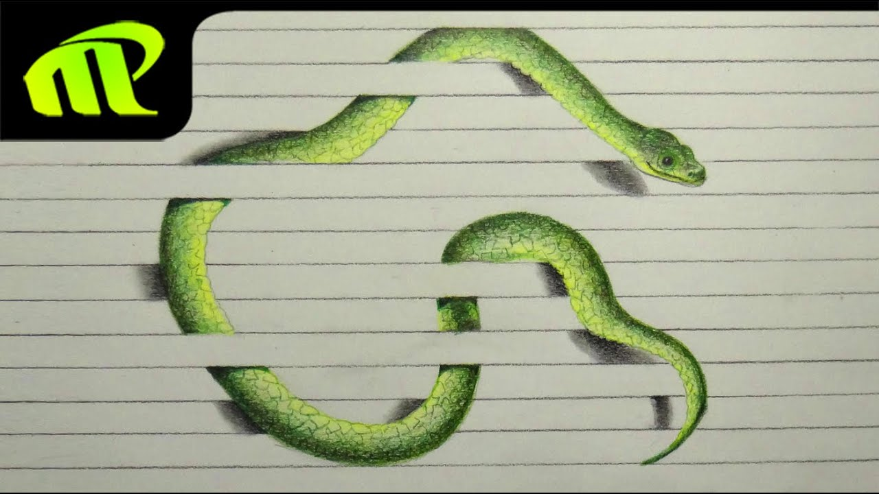 Snake Drawings In Pencil For Kids 3d Paper Illusion Drawing
