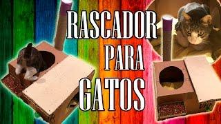 RASCADOR para GATOS CASERO con CARTÓN y material RECICLADO😻😺