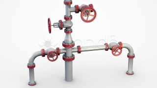 Installing Pipes And Valves System Oil Wellhead Also Known As A Christmas Tree  stock footag