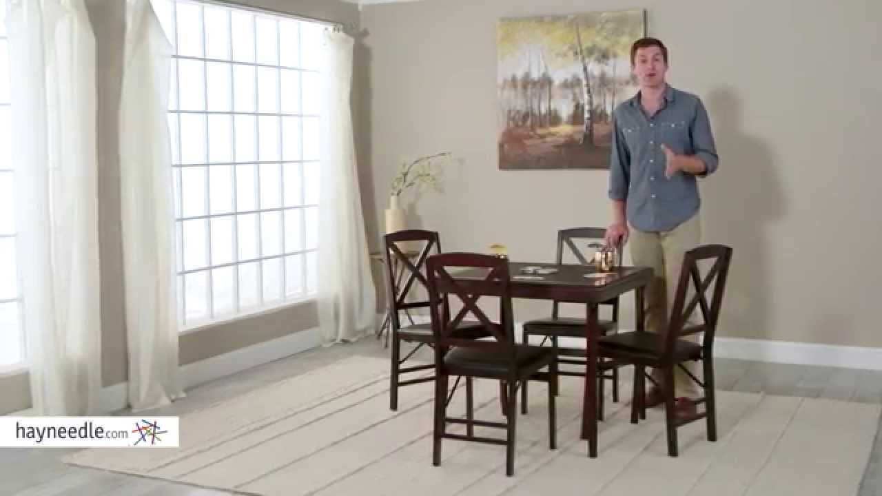 Folding Card Table And Chairs Chair Covers Office Seats Cosco 5 Piece Bridgeport 32 Inch Wood Set Product Review Video Youtube