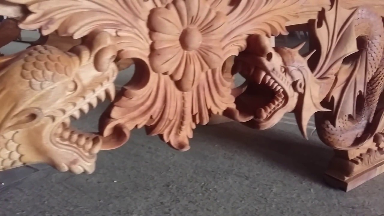 Mahogany dragon carving end bench in process youtube