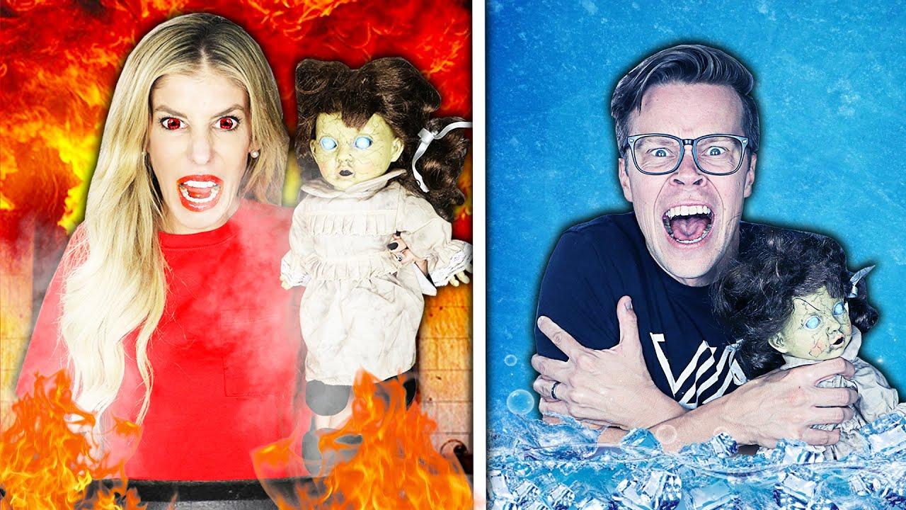 Hot vs Cold Creepy Doll Halloween Challenge! Girls on fire Vs Icy Boy!