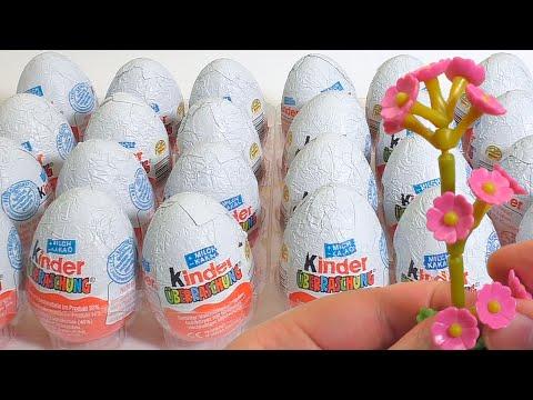 Игрушки Киндер 2002 года, открываем 24 старых Киндер Сюрприза из Германии (Surprise eggs Unboxing)