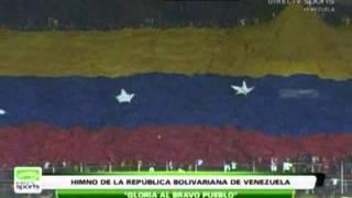 Eliminatorias Mundial 2014. Venezuela - Bolivia. Himno Nacional y Bandera Gigante