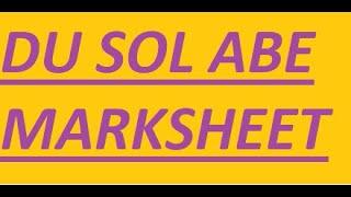 DU SOL //ABE//  //MARKSHEET DOWNLOAD//