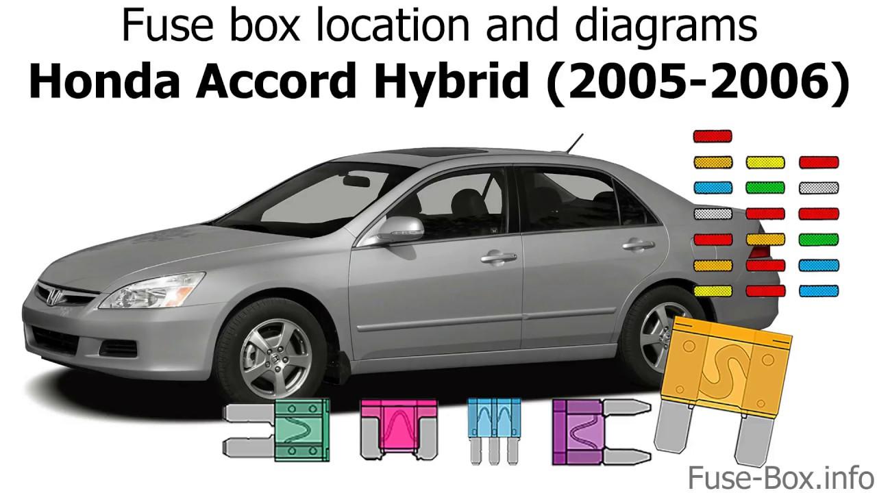 medium resolution of fuse box location and diagrams honda accord hybrid 2005 2006 2006 honda accord fuse box diagram 2006 accord fuse box location