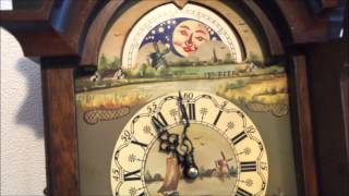 Dutch 8 Day Burl Wood Friese Tailed Wall Clock With Moonphase.
