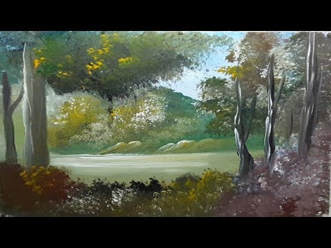 How to Draw Forest Beautiful | Acrylic Landscape Painting Lesson | Step By Step