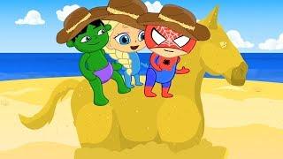 Hulk Elsa & Spiderman babies sand beach 💕 Play Doh Stop motion superhero cartoon