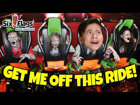 WHO IS BRAVER CHALLENGE Scary Rides and Monsters at Fright Fest Six Flags Magic Mountain