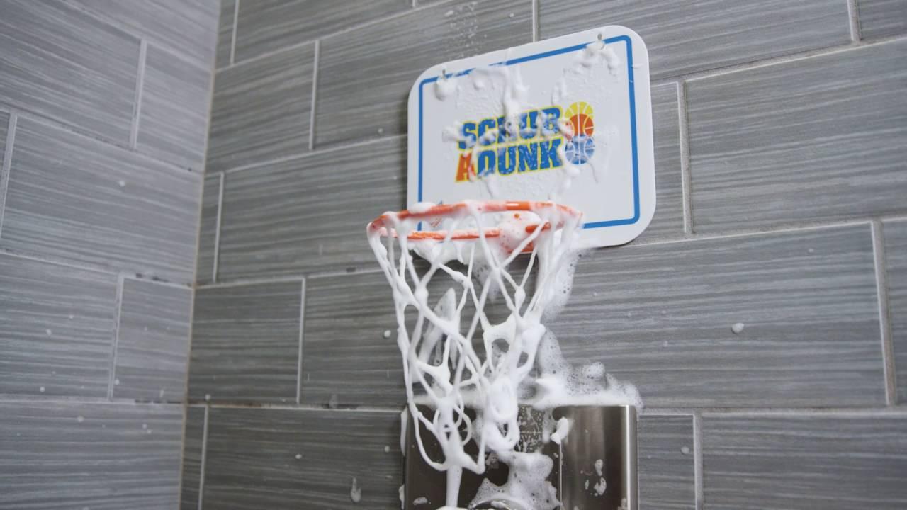 Scrub A Dunk: the bathtub basketball hoop for baby ballers - YouTube