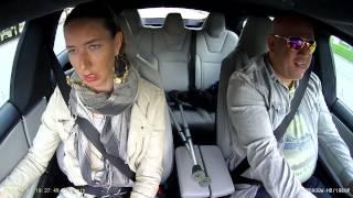 Tesla P85D Insane mode Girl Friend reaction