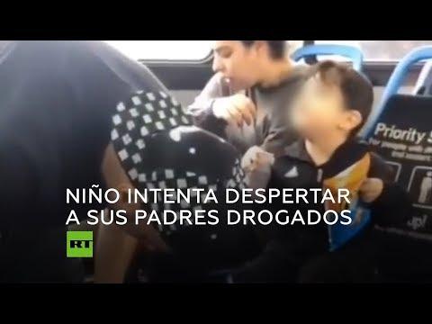 Un niño intenta desesperadamente despertar a sus padres drogados en un autobús