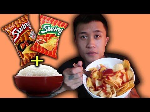 Gấu Vlogs - Thử Ăn Cơm Trộn Bim Bim, Snack (  Try eating Bim Bim, Snack )