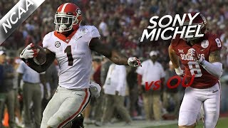 Sony Michel Rose Bowl Highlights vs Oklahoma // 15 Touches for 222 Yards, 4 TDs // 1.1.18