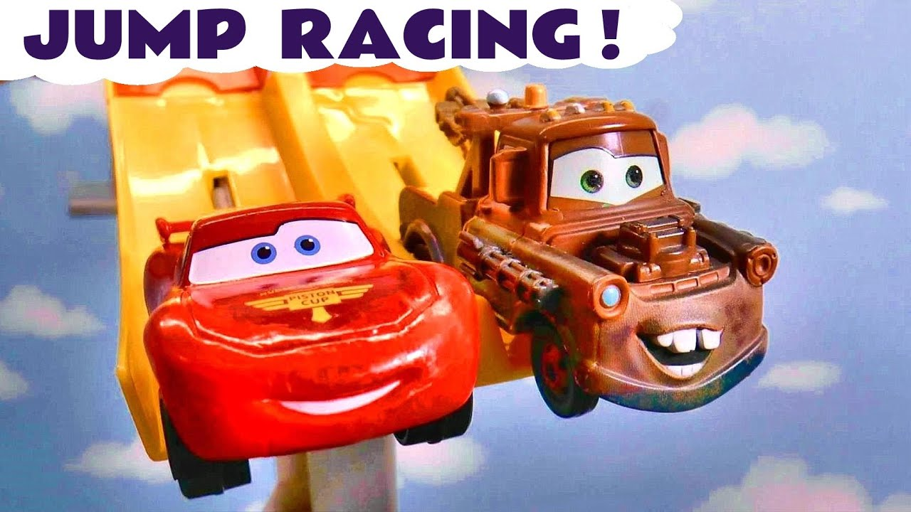Toy Car Race with Pixar Cars 3 Lightning McQueen and Mater