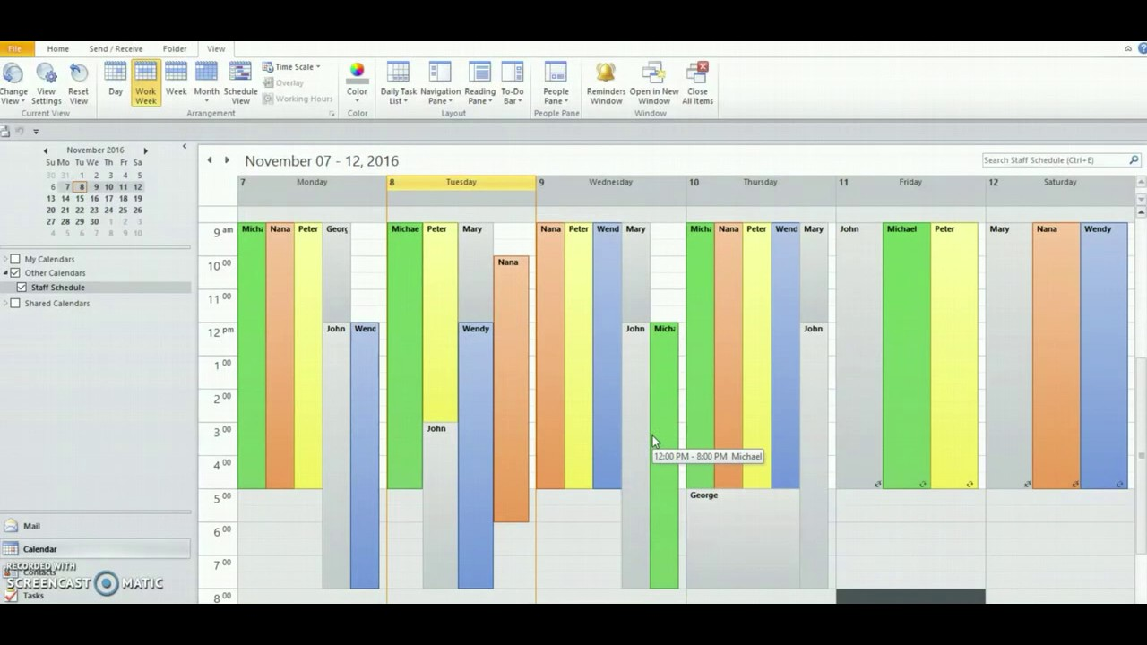 Using Outlook to Create Staff Schedules