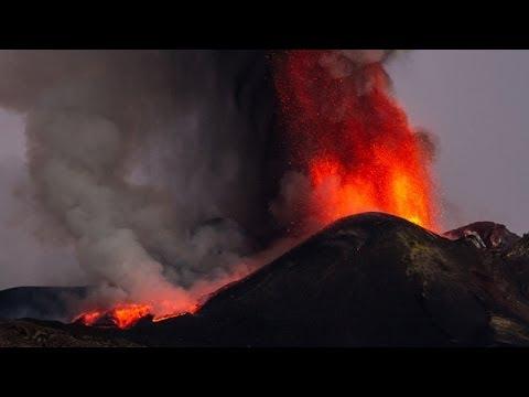 Erupting Volcano - Italy's Mount Etna Volcano Erupts
