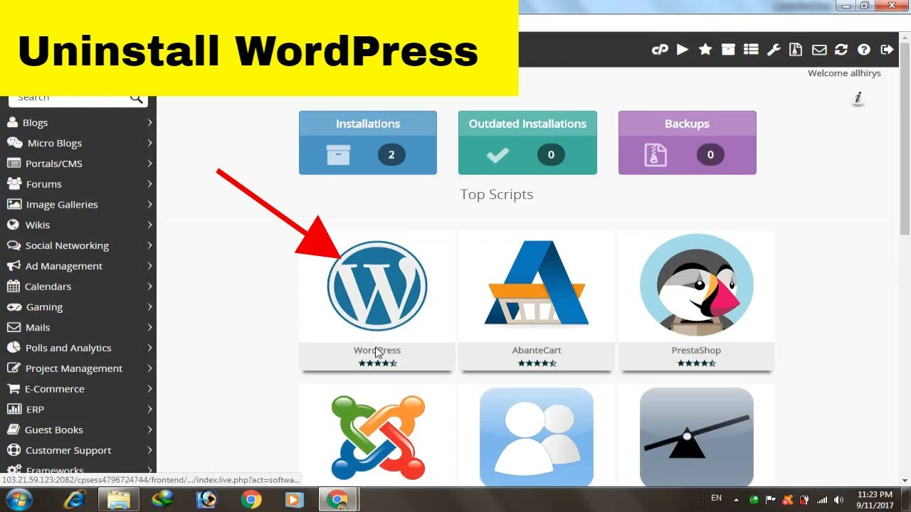 How to uninstall WordPress from cPanel In Hindi Step By Step