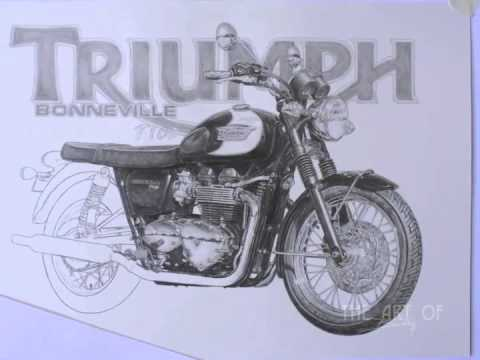 Triumph Motorcycle Pencil Drawings By Billy The Artist