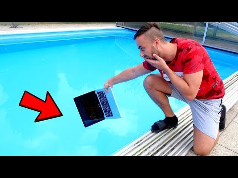 MACBOOK PRO IN OUR SWIMMING POOL PRANK GONE WRONG!!