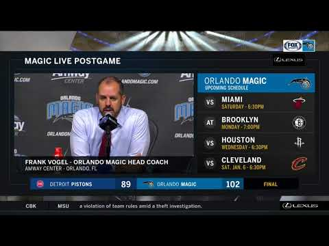 Frank Vogel -- Orlando Magic vs. Detroit Pistons 12/28/2017