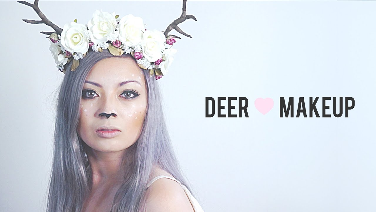 forest deer fawn makeup tutorial halloween costume youtube