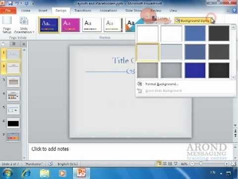 Using PowerPoint 2010 - Apply a Texture or Picture Background - YouTube