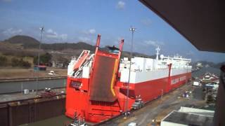 Cargo ship inside Miraflores Lock