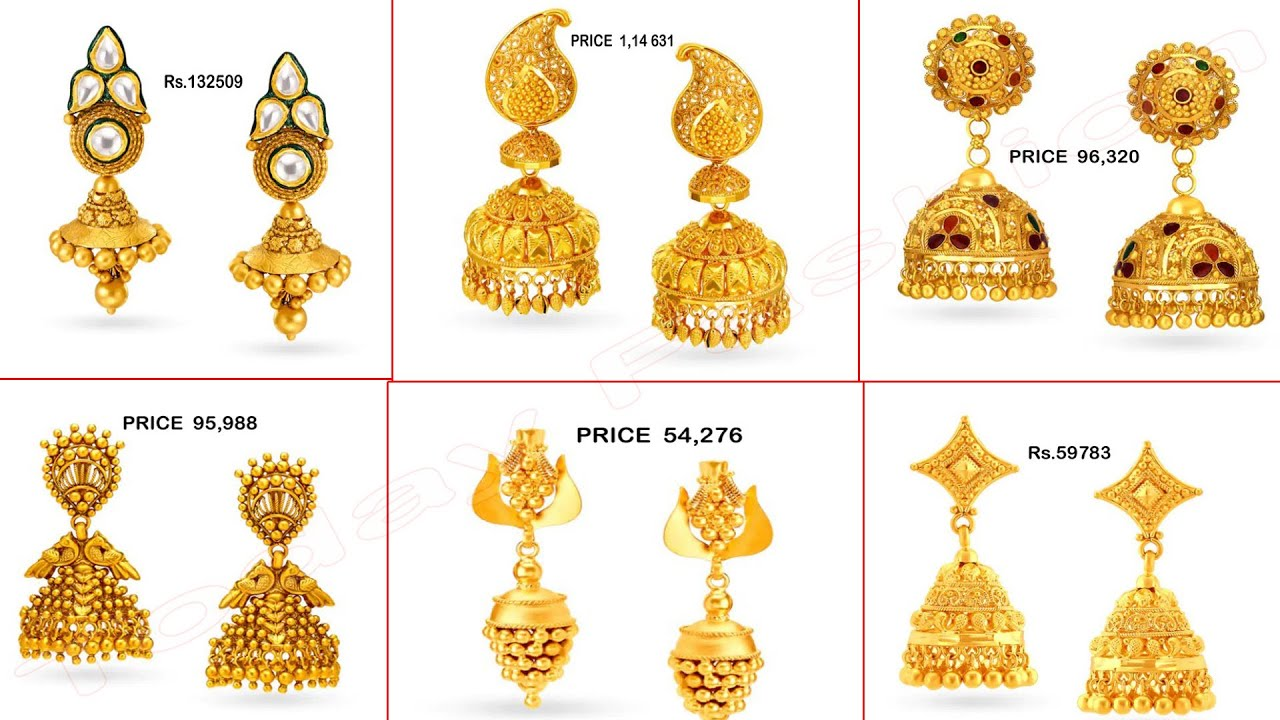 Latest Gold Jhumka Designs With Price   gold Earrings Jhumka Designs   Earrings for Women/girls