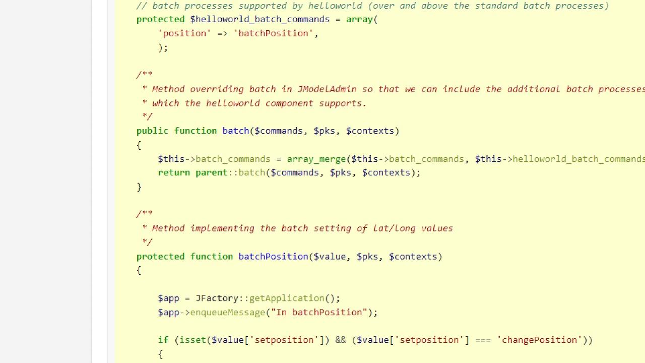 J3 x:Developing an MVC Component/Adding a batch process